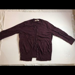 Loft 100% Pima cotton maroon cardigan